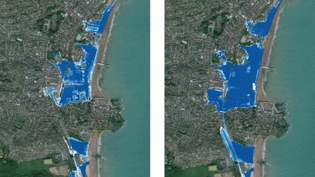 Maps of Paignton showing left, area at risk of flooding now, and right, increased area at risk after 50 years without new...