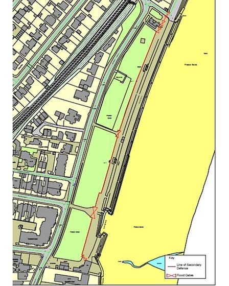 Plan showing the line of proposed new sea wall at Preston