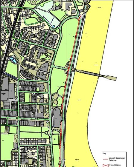Plan showing the line of the proposed new sea wall at Paignton
