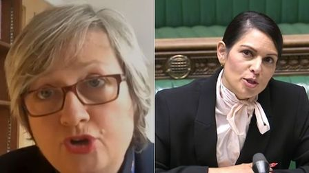 The SNP's Joanna Cherry (L) and Priti Patel in the House of Commons