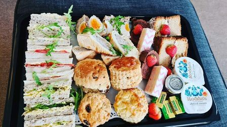 An afternoon tea was delivered to Katie Versey's  home from The Crescent Cafe, Felixstowe