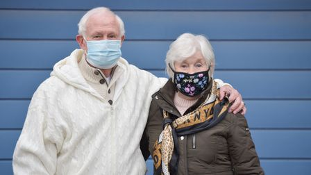 Melvyn and Brenda Bright arriving for their vaccination. Picture: SARAH LUCY BROWN