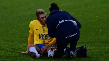 Danny Wright of Torquay United goes down injured during the National League match between Torquay Un
