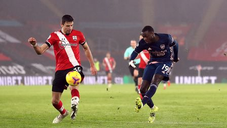 Arsenal's Nicolas Pepe shoots during the Premier League match at St Mary's Stadium, Southampton. Pic