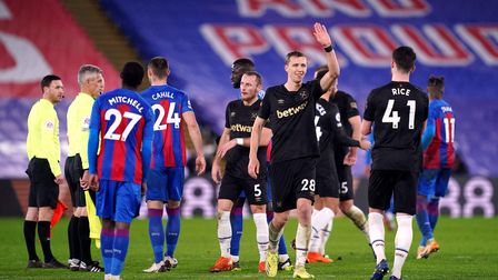 West Ham United's Tomas Soucek waves after the Premier League match at Selhurst Park, London. Pictur