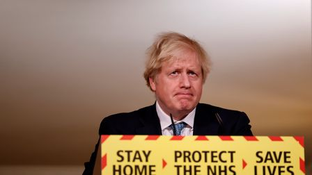 Prime Minister Boris Johnson during a media briefing on coronavirus (COVID-19) in Downing Street, Lo