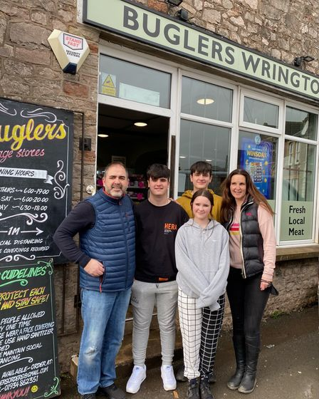 Buglers' owners, Paul and Carly Butchers with their kids Charlie, Freddie, and Olivia.