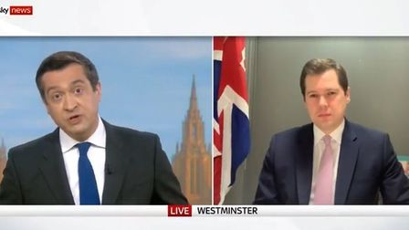 Niall Paterson (L) and Robert Jenrick on Sky News