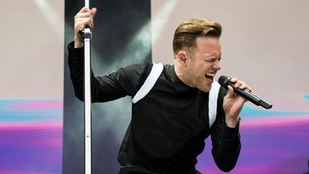 Olly Murs on stage at The Jockey Club Live concert at Market Rasen