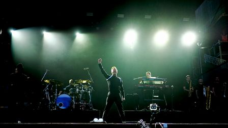 Olly Murs on stage at a previous concert at Newmarket Racecourses.