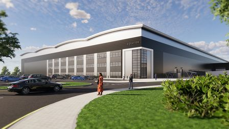 An artist's impression of the new 60-acre Orwell Logistics Park, close to the Port of Felixstowe, available from Q2 2022. [CREDIT: EQUATION PROPERTIES]