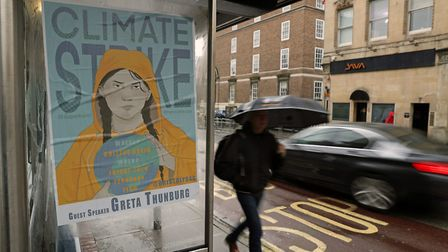 A poster depicting environmental activist Greta Thunberg which has been pasted to a bus shelter ahead of the Bristol Youth...