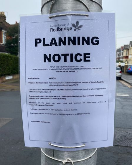 Redbridge Council's notice about the planning application opposite the junction of Abbotsford Road and Airthrie Road.