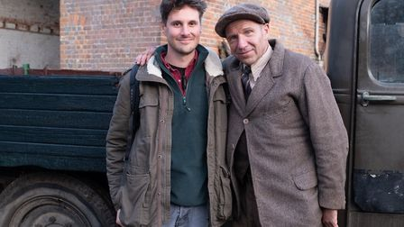 Jay Ducker on set with Ralph Fiennes, filming The Dig