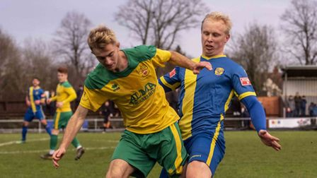 Callum Stead in action for Hitchin Town FC
