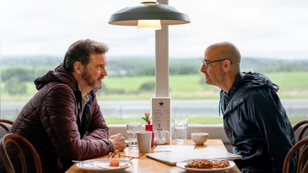 Sam (Colin Firth) and Tusker (Stanley Tucci) in Supernova