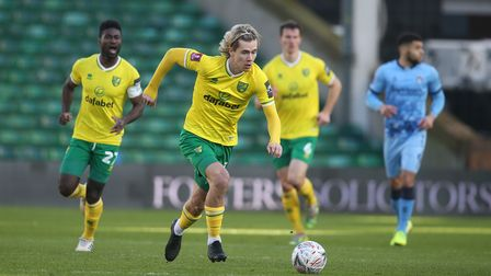 Todd Cantwell of Norwich in action during the FA Cup match at Carrow Road, Norwich Picture by Paul