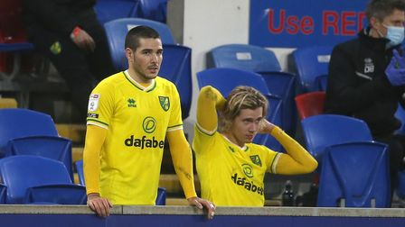 """Emiliano Buendia of Norwich and Todd Cantwell of Norwich watch from the """"bench"""" after being subbed d"""