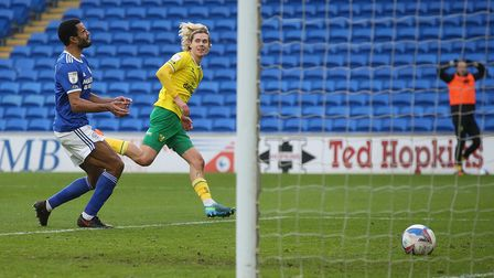 Todd Cantwell of Norwich scores his sides 2nd goal during the Sky Bet Championship match at the Card