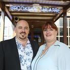 Brookside Theate in Romford has won a most welcoming theate award. Jai and Harri outside the theatre
