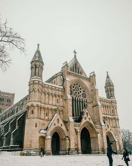 St Albans Cathedral in the snow