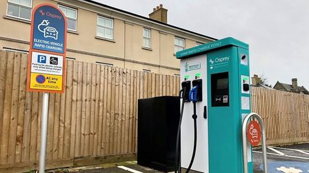 Green charge point in Brentwood Town Hall car park.