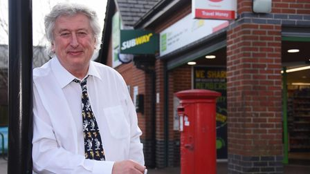 Paul Wallace on his last day at West Earlham Post Office, as he retires after 48 years. Picture: DEN