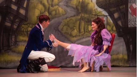 prince charming fitting cinderella's shoe