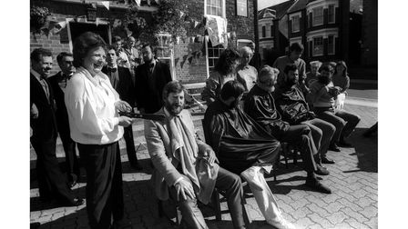 Another photo of those taking part in the sponsored beard shave at the Woolpack pub, Ipswich, in September 1986