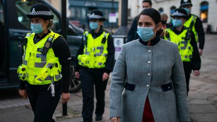Home Secretary Priti Patel during a foot patrol with new police recruits around Bishop's Stortford,