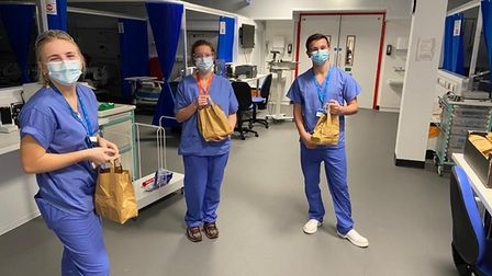Frontline staff at Exeter's Nightingale hospital with their gift bags