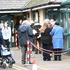 People queuing for vaccinations at Riverbank Medical Centre in Worle.
