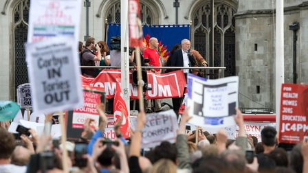 """Jeremy Corbyn speaks in Parliament Square, where the Momentum campaign group held a """"Keep Corbyn"""" demonstration."""