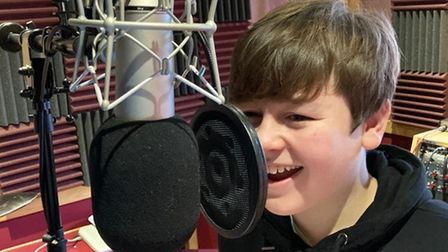 Harry Reeve recording a voiceover