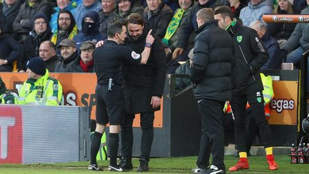 Despite his apology, Norwich Head Coach Daniel Farke is sent to the stands for kicking the ball away