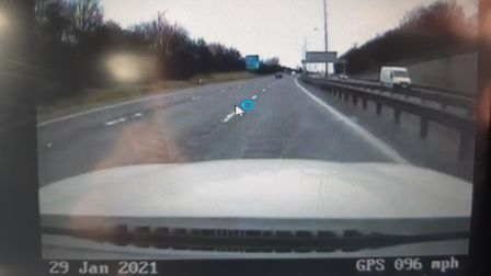 A driver was caught on the A1(M) speeding