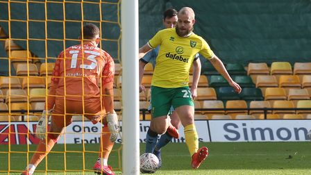 Teemu Pukki of Norwich has a shot on goal that hits the post during the FA Cup match at Carrow Road,