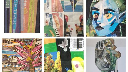 Some of the entries in Broadway Gallery'sComet Collage Challenge