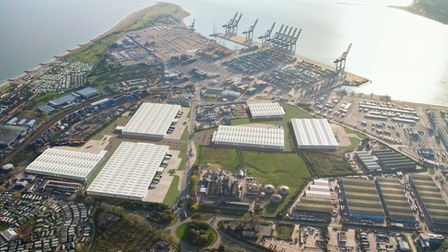 A CGI showing how the new Port of Felixstowe Logistics Parkcould look in the heart of the port complex