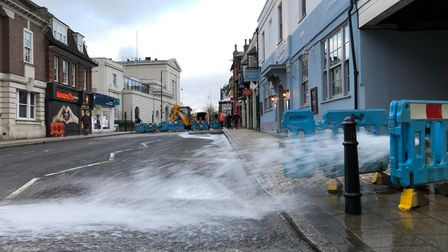 Workmen tackling the burst water main in Chequer Street. Picture thanks to Craig Shepheard.