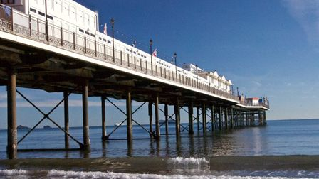 Paignton pier with the sea lapping under