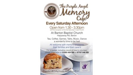 A poster advertising the The Purple Angel memory cafe in Barton Baptist Church, Torquay