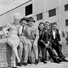 Barbara Windsor and the cast of Crooks in Cloisters at Elstree Studios in 1963.