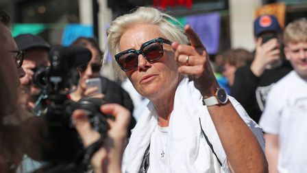 Actress Emma Thompson joins Extinction Rebellion demonstrators at Oxford Circus in London. Photograp