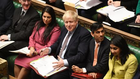 Boris Johnson with his ministers in the House of Commons. Photograph: UK Parliament/Jessica Taylor/P