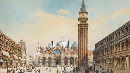 Piazza di San Marco in Venice painted by Friedrich Perlberg circa 1875. Photo by GraphicaArtis/Getty