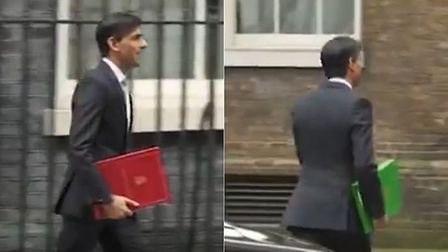 Rishi Sunak's budget folder changed colour during a Sky News report. Photograph: Sky.