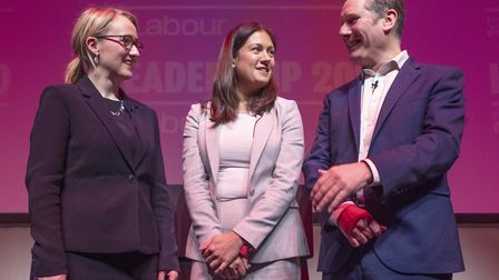 (left to right) Labour leadership candidates Rebecca Long-Bailey, Lisa Nandy and Sir Keir Starmer after the Labour...