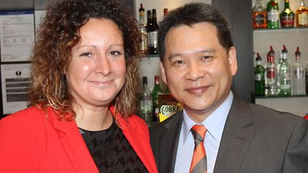 Carla Turner from Clysdale Bank and Chun Kong from The Mayflower Restaurant