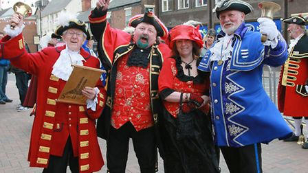 Cheshire Town Cryers who took part in a Festival competition (L-R); Dennis Robinson (Sandbach), Jo
